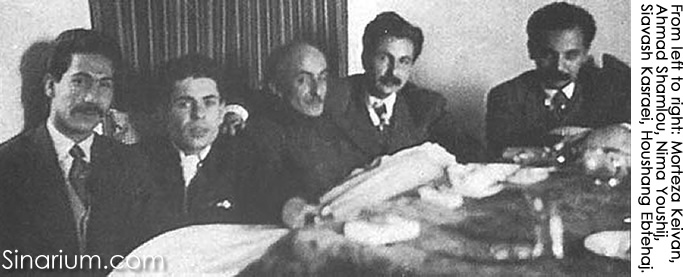 From left to right: Morteza Keivan, Ahmad Shamlou, Nima Youshij, Siavash Kasraei, Houshang Ebtehaj.