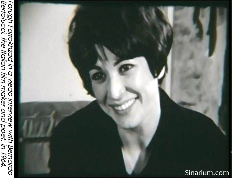 Forough Farrokhzad in a video interview with Bernardo Bertolucci, the Italian Filmmaker and poet, in 1964.
