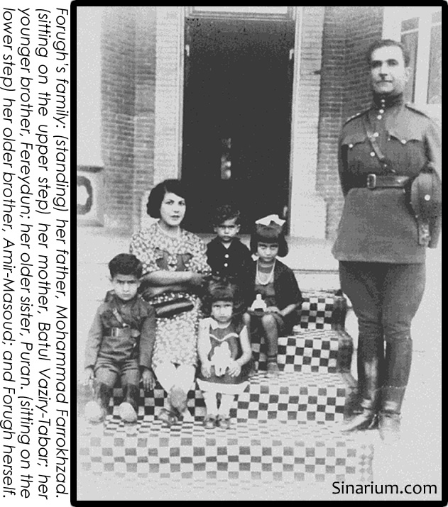 Forugh's family: (standing) her father, Mohammad Farrokhzad. (sitting on the upper step) her mother, Batul Vaziry-Tabar; her younger brother, Fereydun; her older sister, Puran. (sitting on the lower step) her older brother, Amir-Masoud; and Forugh herself.
